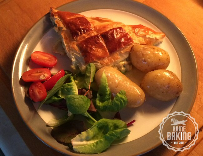 Russian Fish Pie Served with Nw Potatoes and Salad